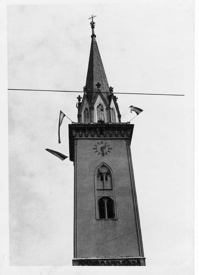 Der Villacher Kirchturm. Klagenfurt haben wir damals gar nicht besucht.