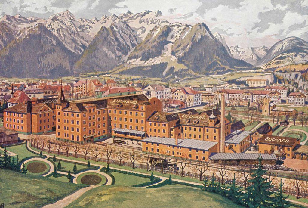 Das Ziel unserer Reise in die Kinderwelt der Schokolade. Bludenz vor oder hinter dem Arlberg. Wo genau das lag wussten wir ja noch nicht. Irgendwo im Westen Österreichs, also dort drüben. Suchard war uns allen schon ein Begriff, alles andere existierte noch nicht.