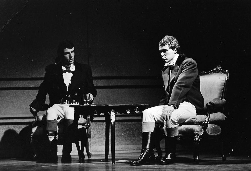 """""""Clavigo"""" 1967 im neu-erbauten Schauspielhaus Graz: Meinrad Nell (links) und Wolfram Berger (rechts)"""